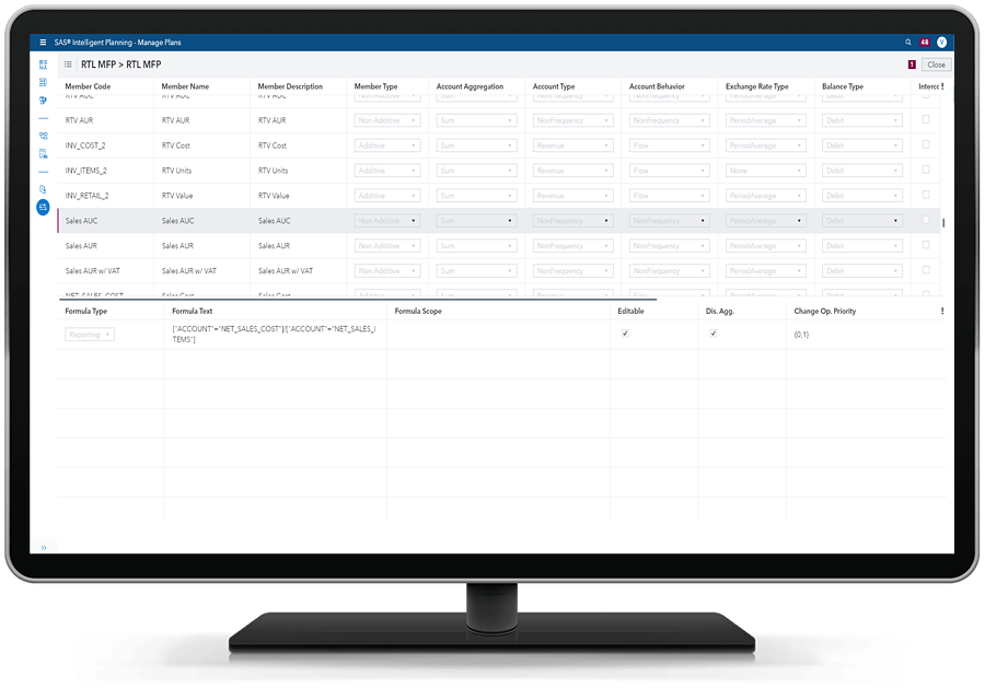 SAS Intelligent Planning - view calculations inside app