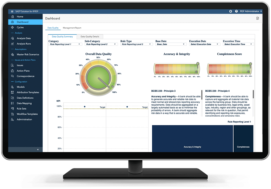 SAS Solution for IFRS 9 showing dashboard on desktop monitor