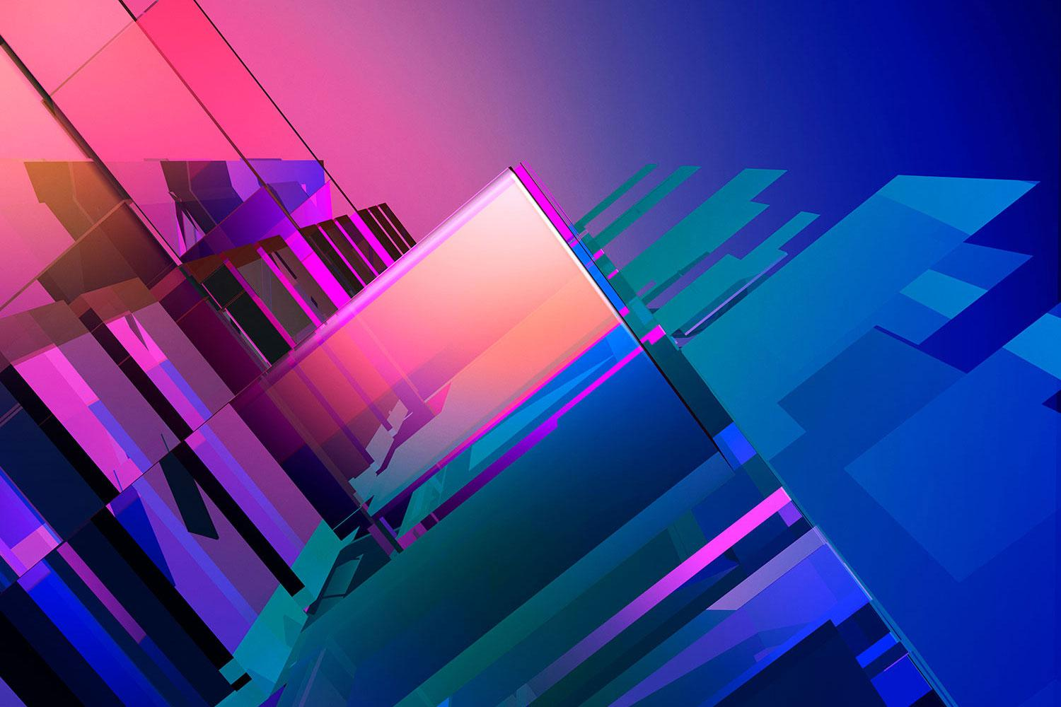 Abstract pink to blue squares