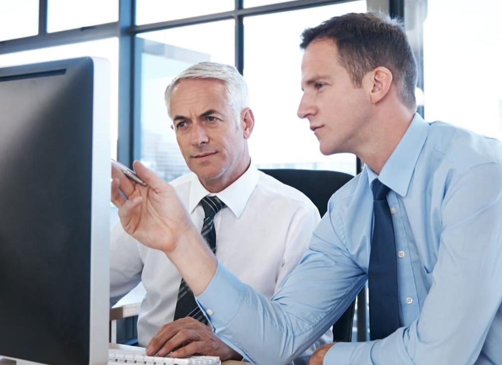 Two businessmen looking at desktop monitor