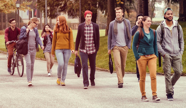 Students Walking on University Campus