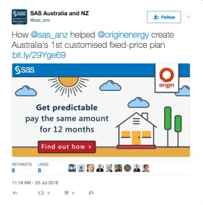 SAS Software tweet about Origin Energy