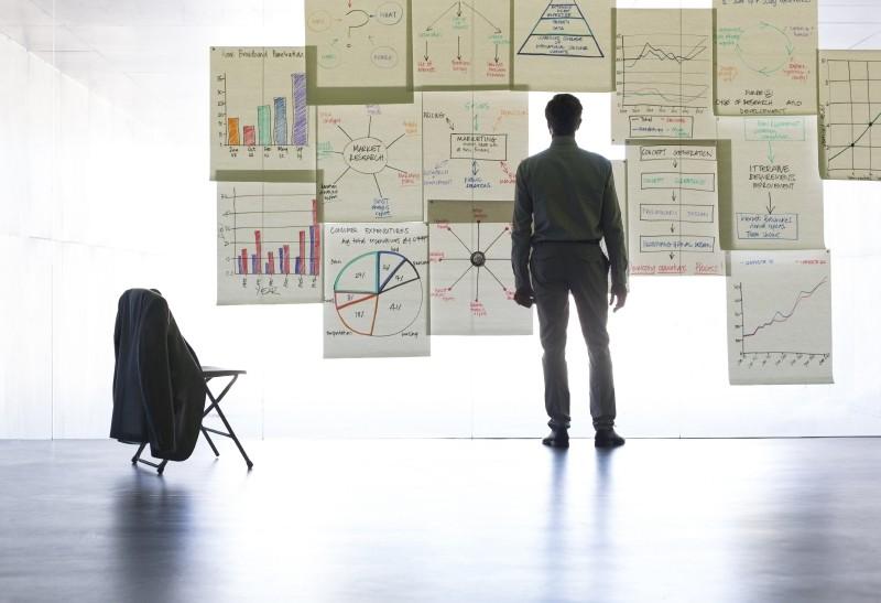 man-looking-at-wall-charts