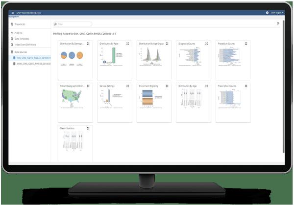 SAS Real World Evidence showing data source profiles