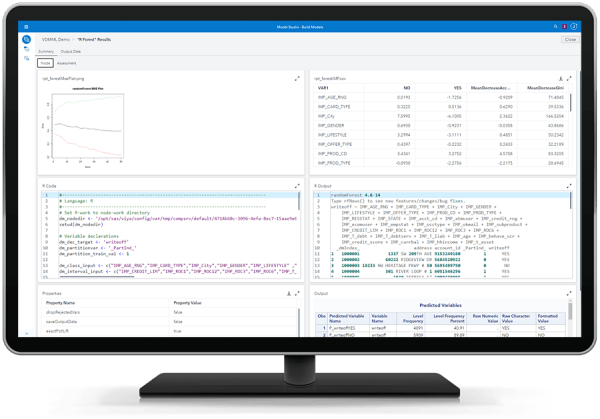SAS Visual Data Mining and Machine Learning showing R open source node on desktop monitor