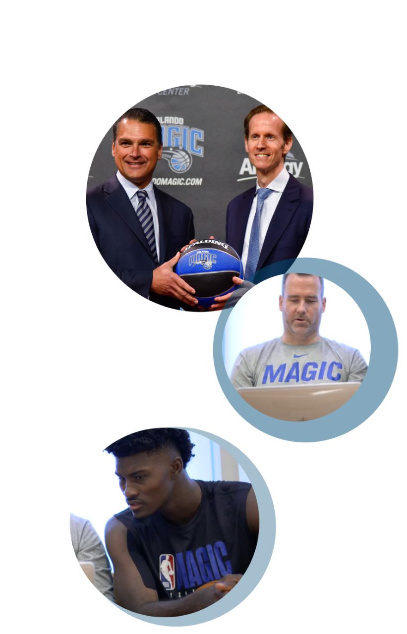 Orlando Magic three circle collage of players and staff