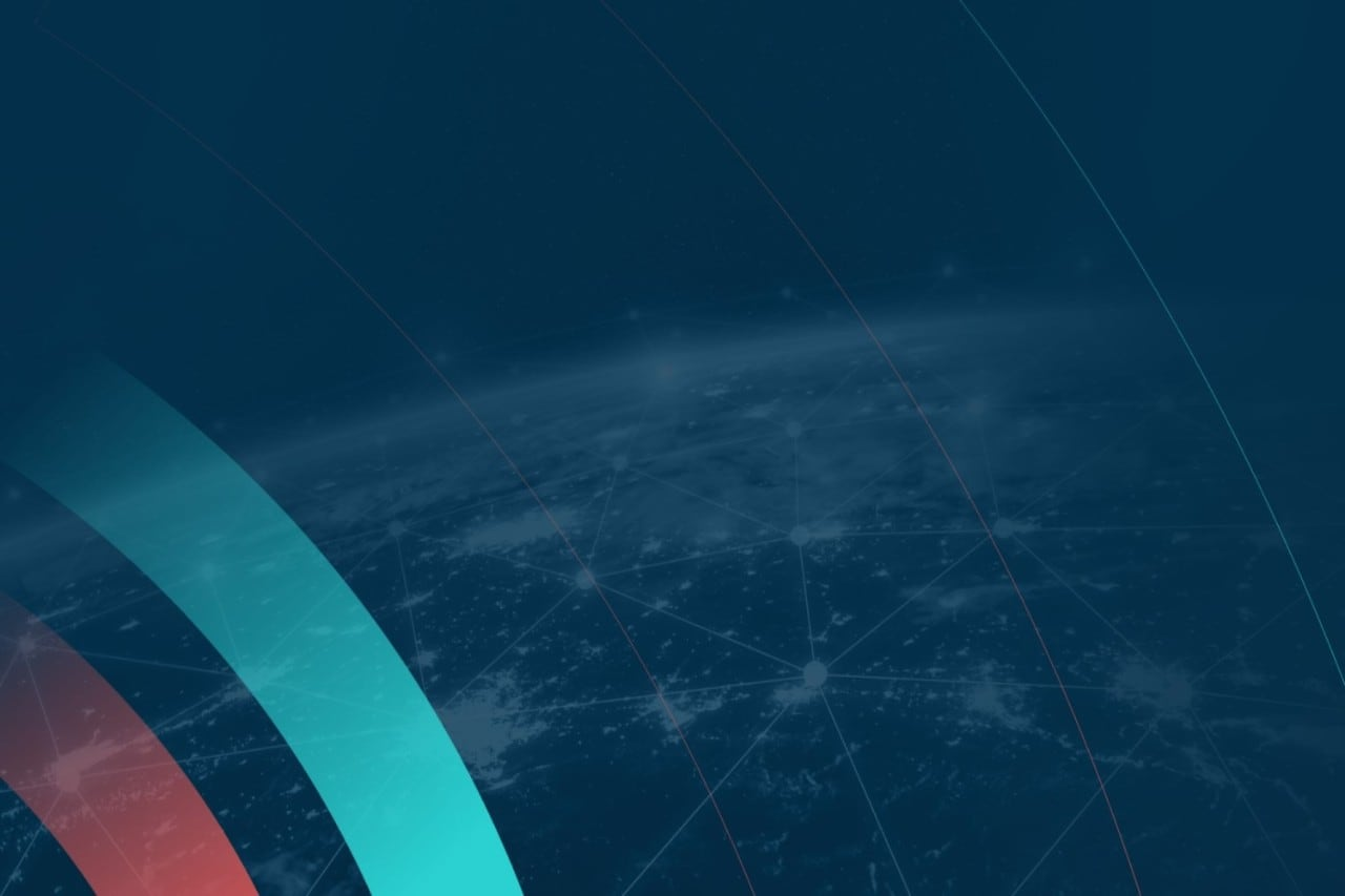 Dark Blue Background with Planet Earth with white connections and a cyan and red stripes