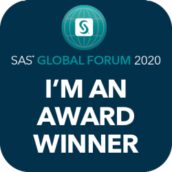 sas global forum im an award winner social badge