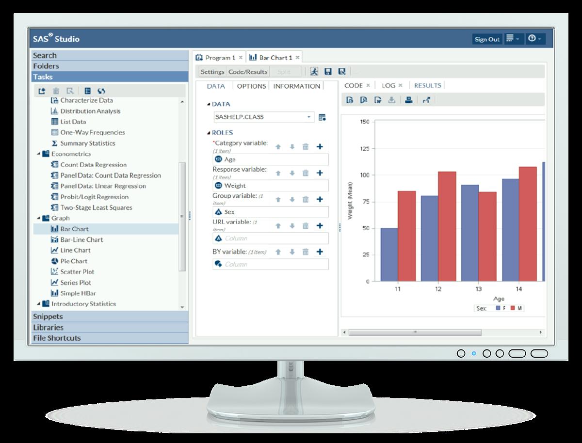 SAS University Edition SAS Studio interface shown on desktop monitor