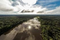 Aerial view of the Tambopata river in Peru