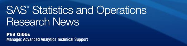 SAS Statistics and Operations Research News