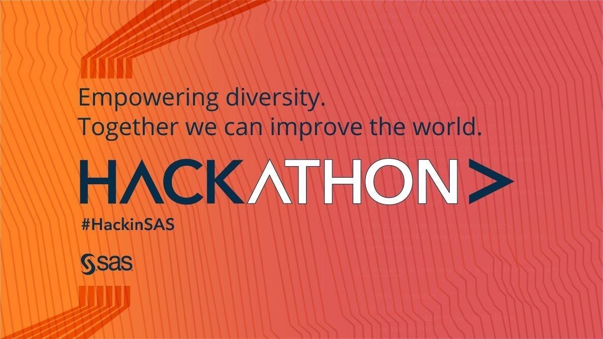 SAS hackathon improve the world on orange background