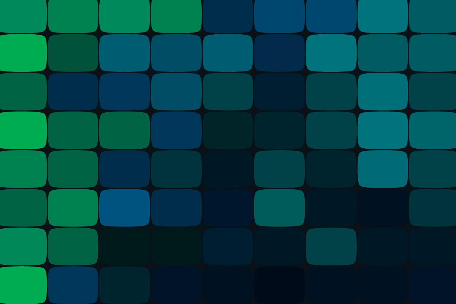 Green and blue blocks stacked in rows
