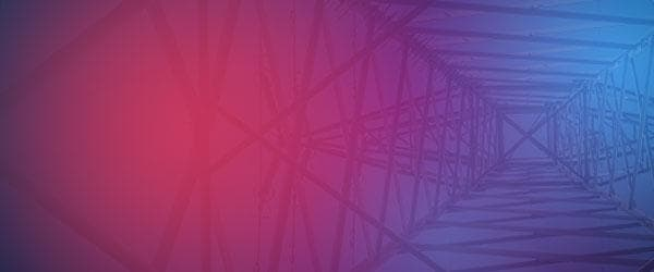 Electrical tower abstract over red and blue texture background