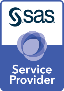 SAS Reseller badge art, vertical format, white background