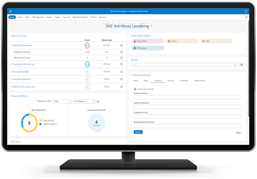 SAS Customer Due Diligence performing efficient investigations shown on desktop monitor