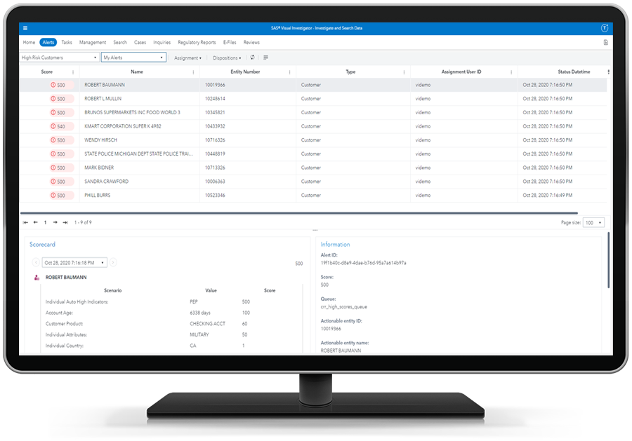 SAS Customer Due Diligence showing a risk-based approach to customer monitoring on desktop monitor
