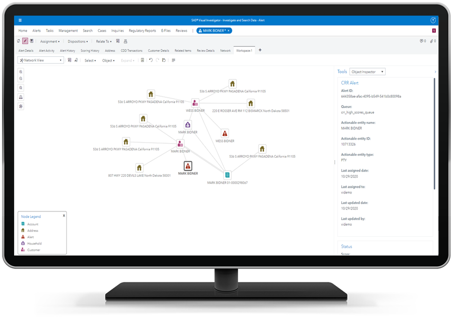 SAS Customer Due Diligence showing a single view of a customer on desktop monitor