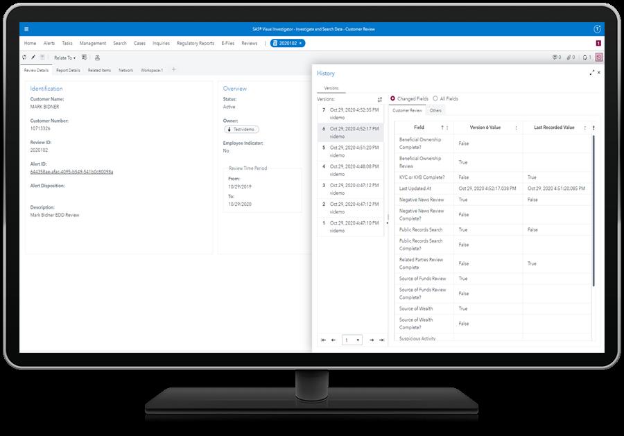 SAS Customer Due Diligence showing transparency on desktop monitor