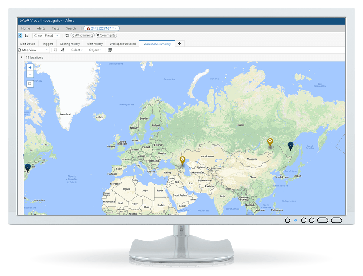 SAS Detection and Investigation for Banking showing application fraud map on desktop monitor