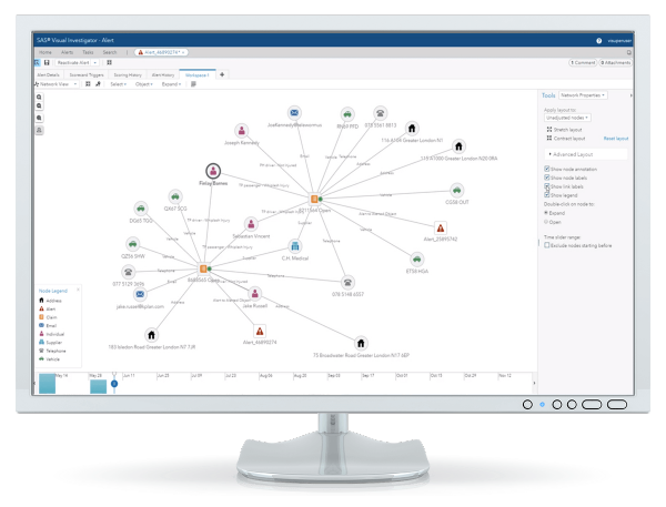 SAS Detection and Investigation for Insurance showing screen network zoomed on desktop monitor