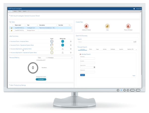 SAS Detection and Investigation for Insurance showing alert summary on desktop monitor