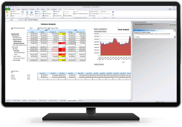 SAS Financial Management showing improved communication capabilities on desktop monitor