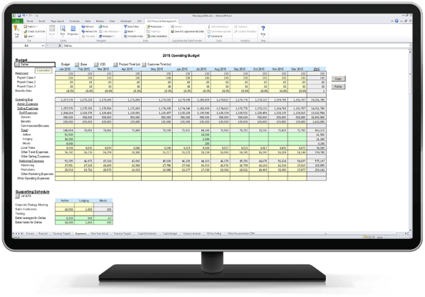 SAS Financial Management showing accurate budgeting capabilities on desktop monitor