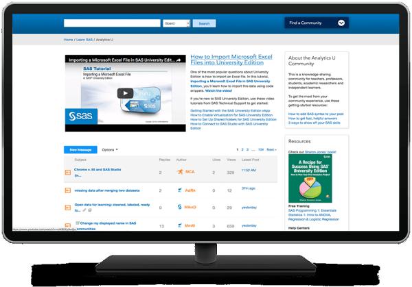 SAS Analytics U online community shown on desktop monitor