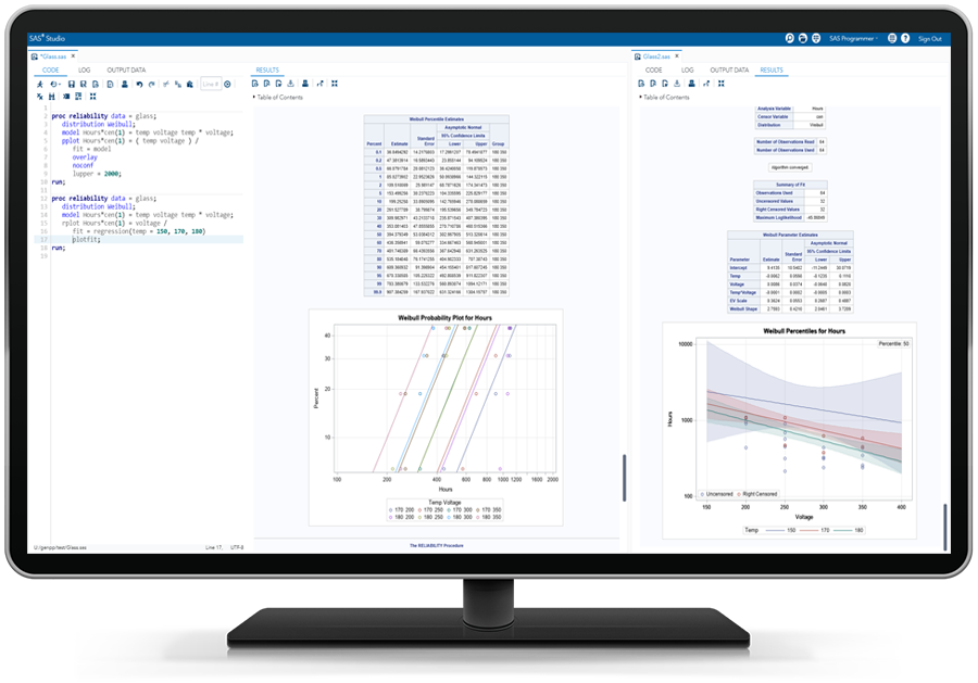 SAS QC software showing product reliability assessment on desktop monitor