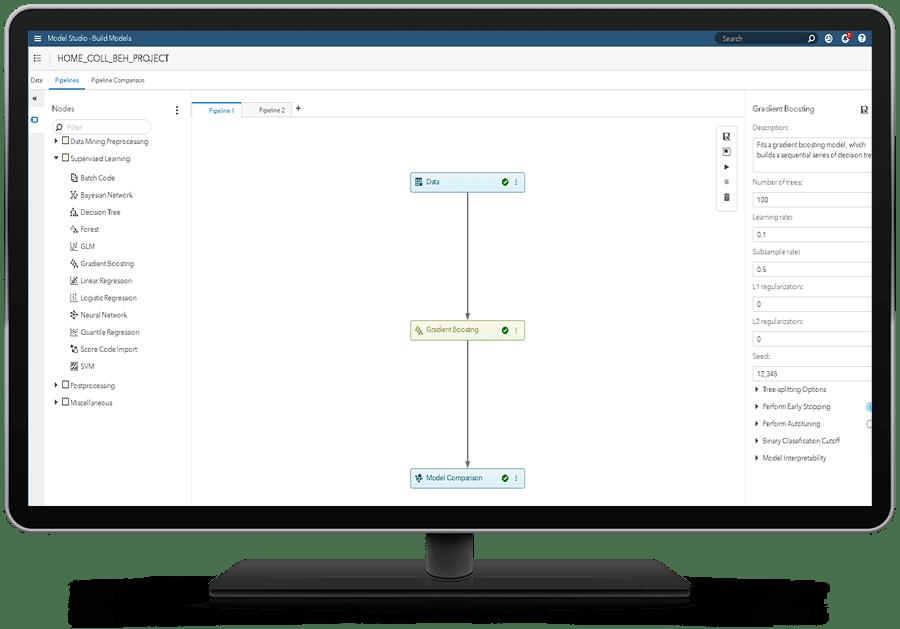 SAS Risk Modeling showing robust machine learning model development on desktop monitor