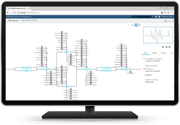SAS Solution for IFRS 17 showing IRM flow on desktop monitor