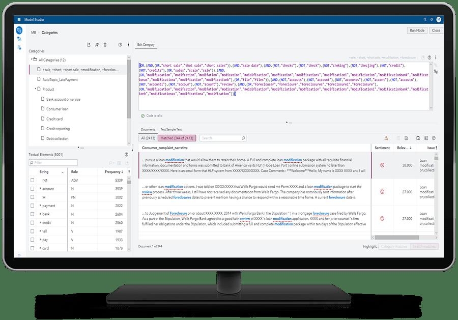 SAS Visual Text Analytics showing model studio text parsing node on desktop monitor