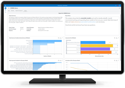 SAS Visual Data Science showing insights on desktop monitor