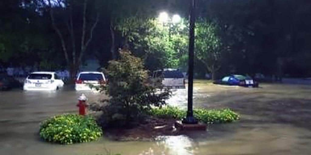 Flooded Town of Cary parking lot