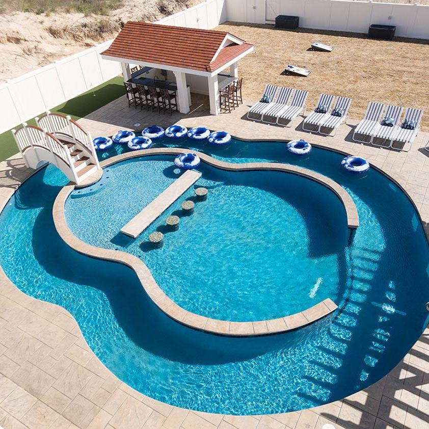 Aerial view of the Twiddy & Company pool
