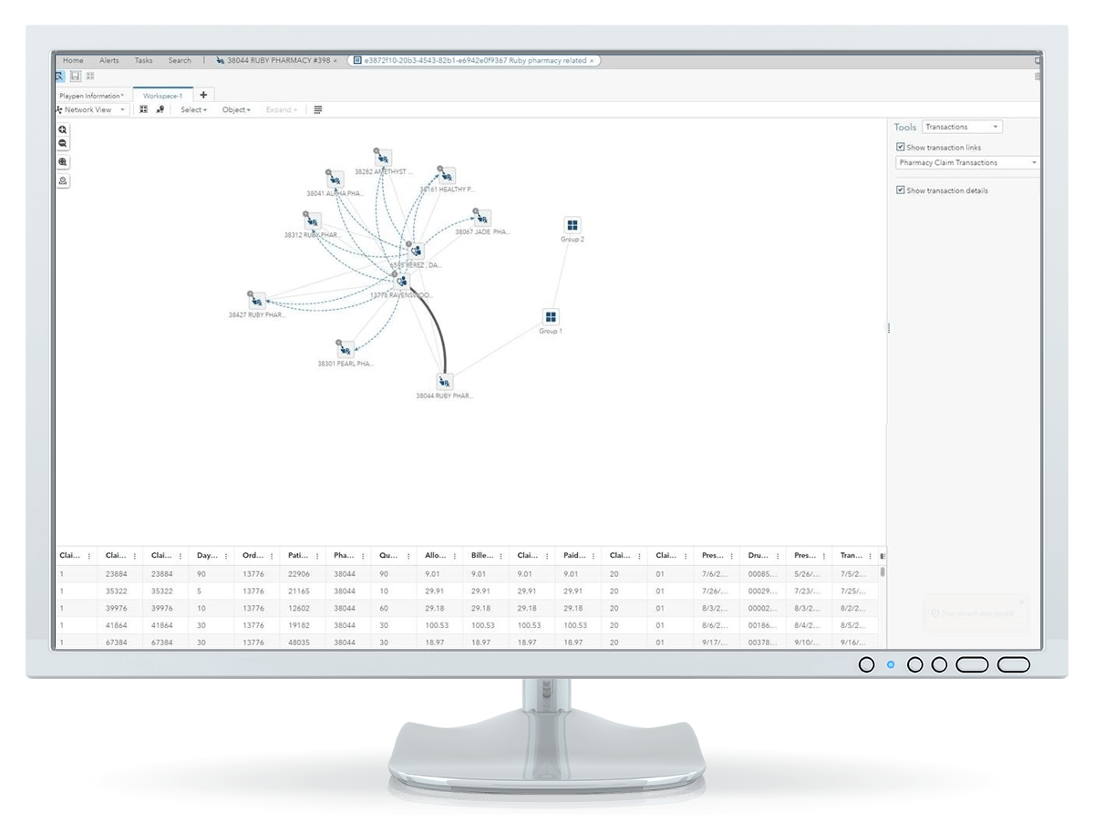SAS Detection and Investigation for Health Care showing network view on desktop monitor