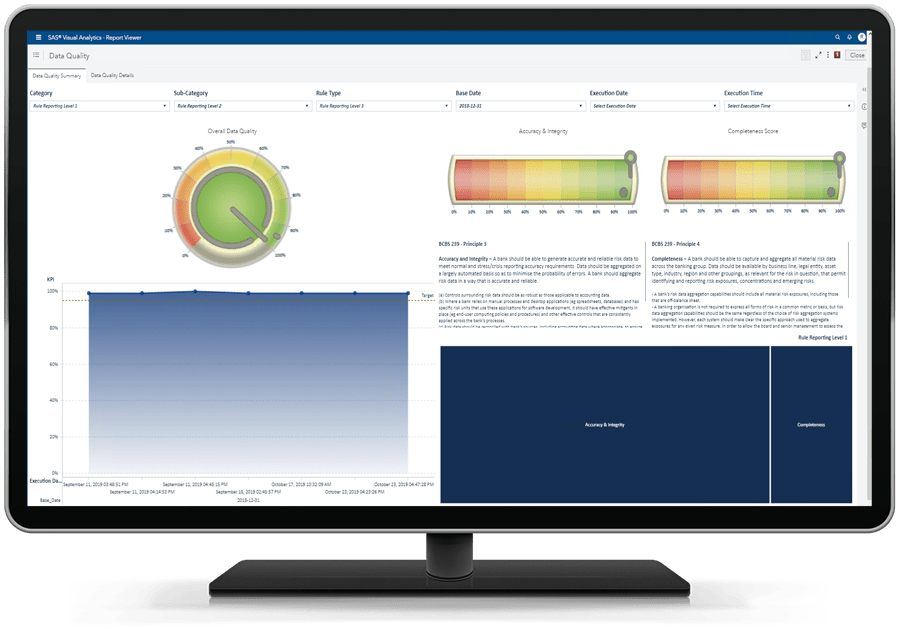 SAS Solution for CECL showing data quality report on desktop monitor