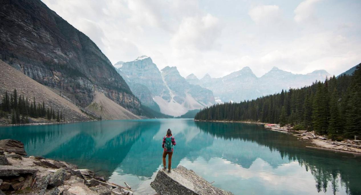 Woman standing overlooking Moraine Lake