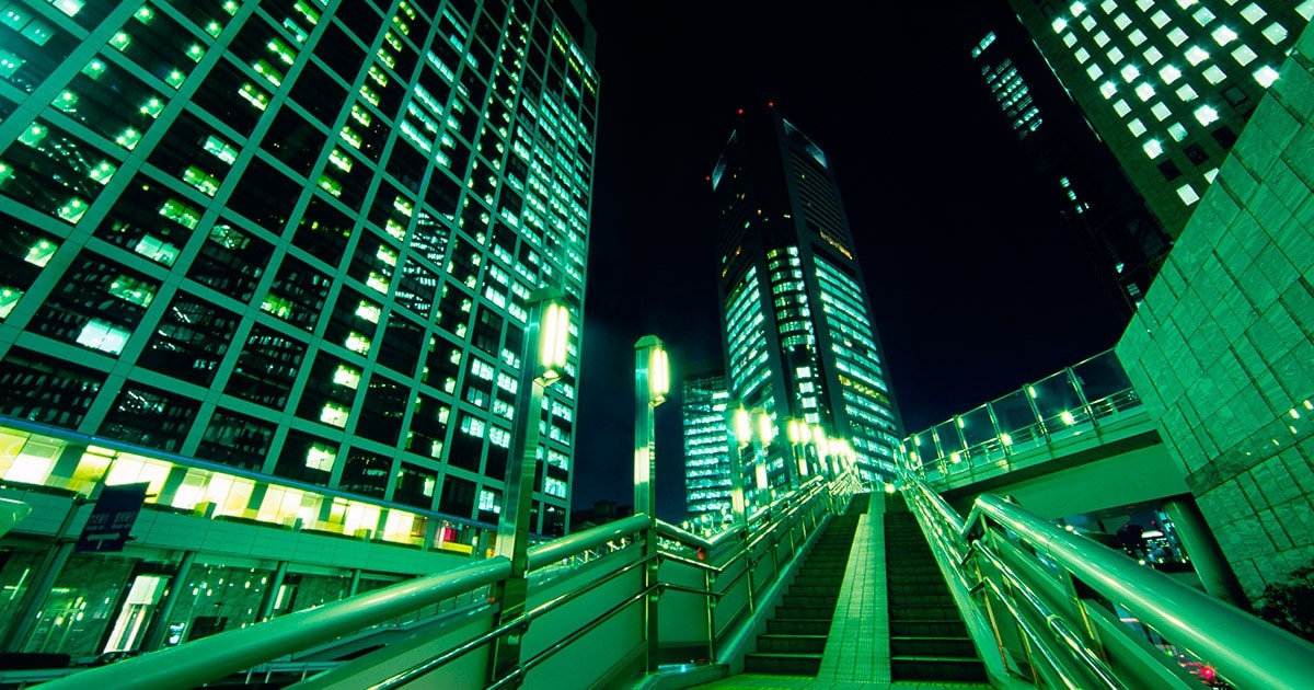 Tokyo Office Buildings at Night -- City Stair at Night