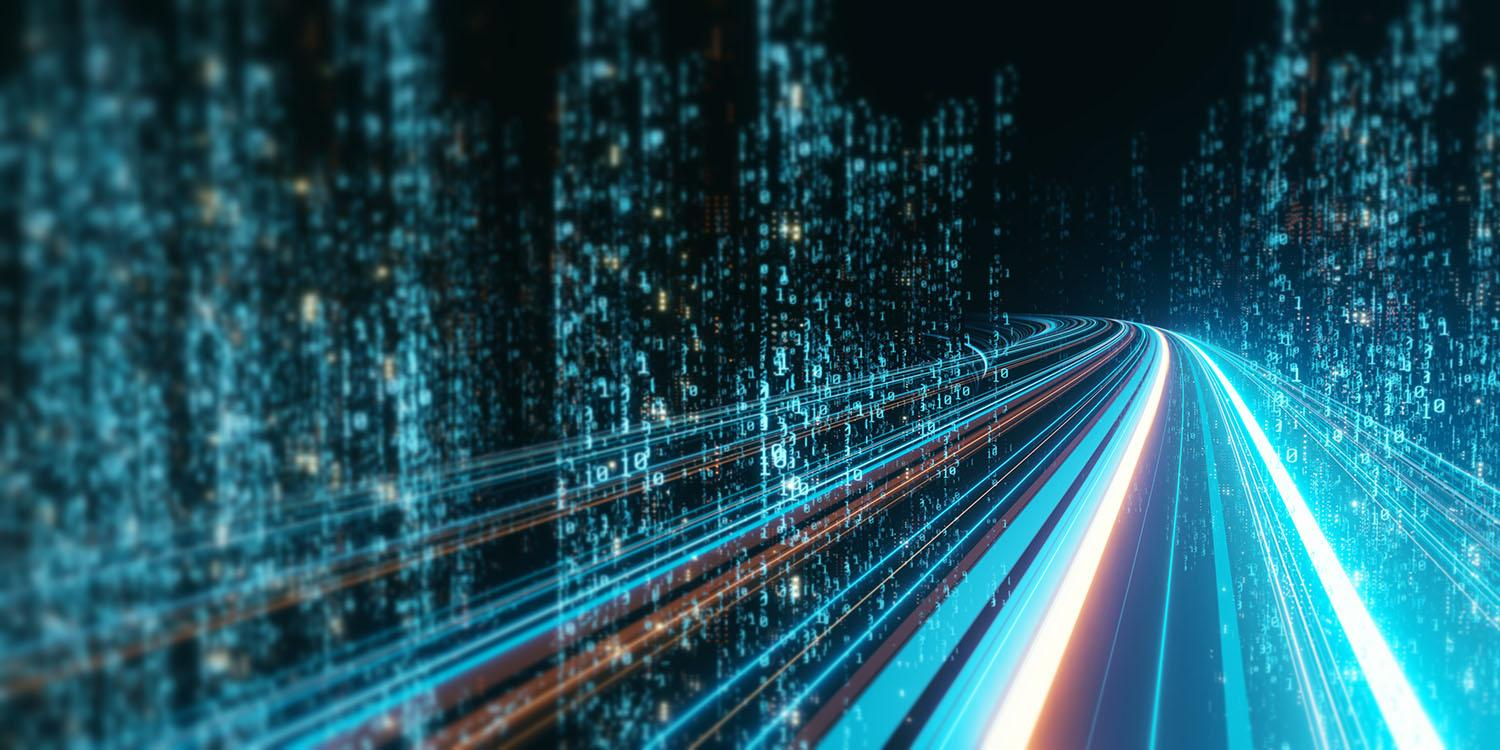 3D Rendering of abstract highway path through digital binary towers in city
