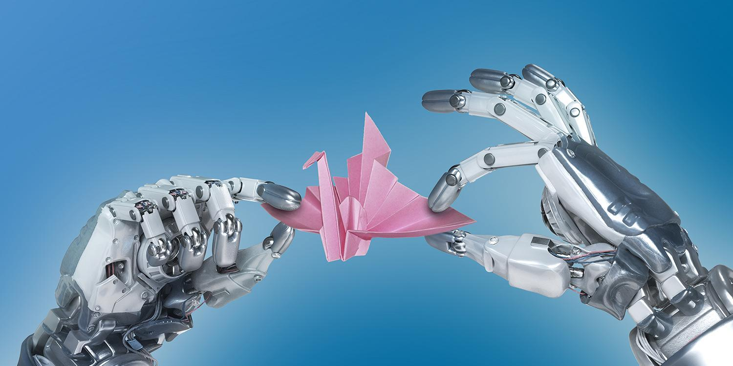 Robot hand making an origami paper crane - Blues Background