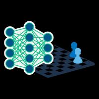 Gráfico de un tablero de ajedrez y una red neural