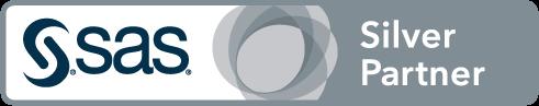 SAS Silver Partner badge art, horizontal format, white background