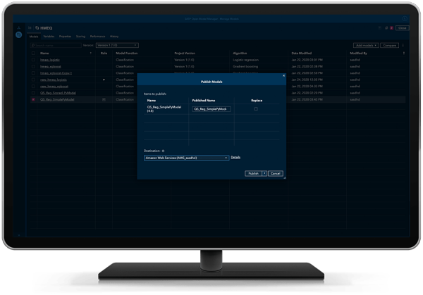 SAS Open Model Manager showing the ability to publish to different destinations that you configure, including CAS, MAS, local Docker, Amazon EKS, on desktop monitor