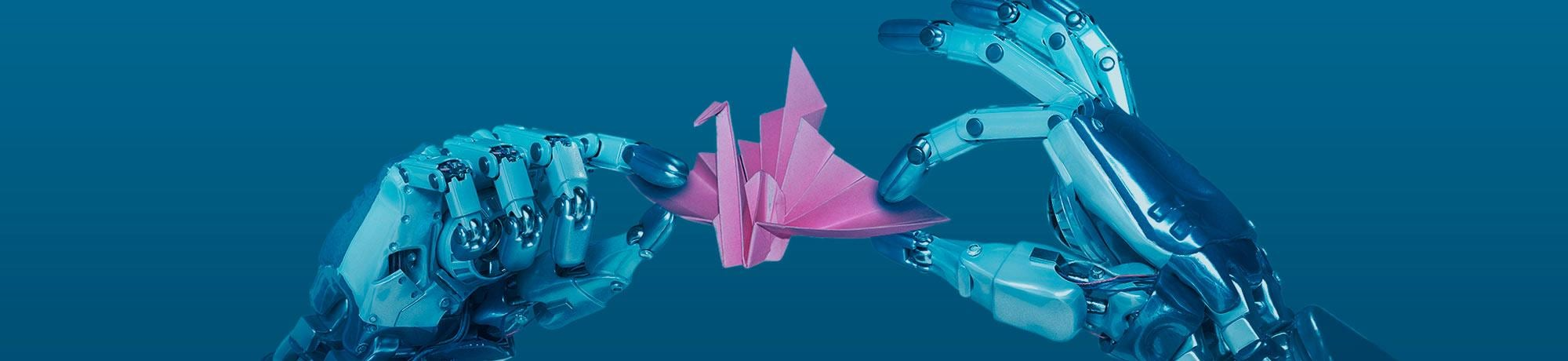 Robot hands with pink origami