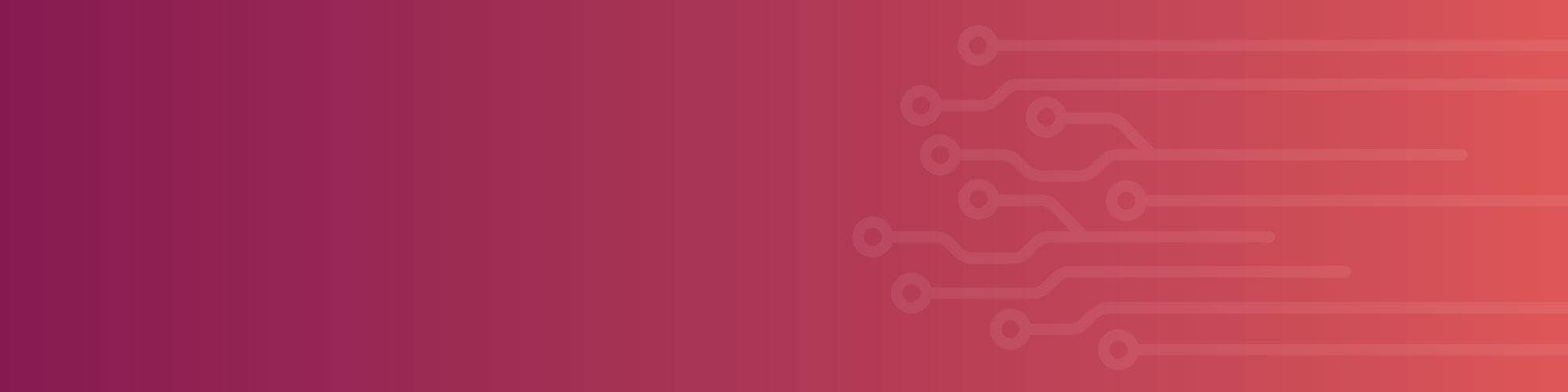 burgundy to pink gradient background with circuit pattern