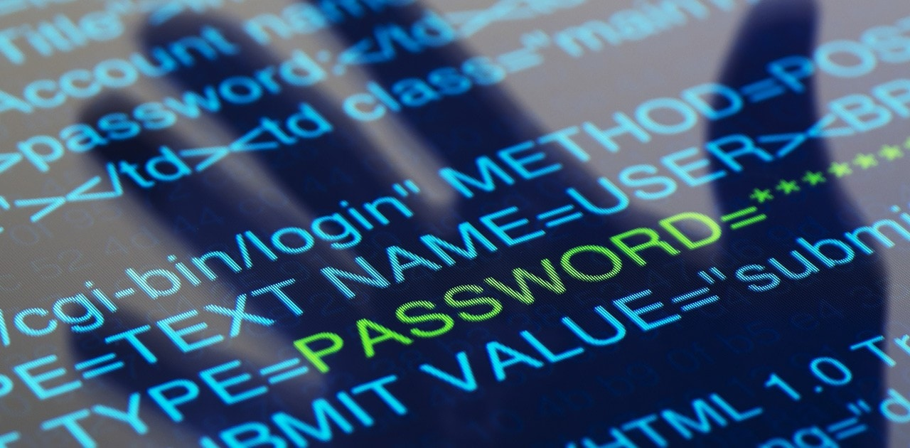 Closeup of security code on computer screen