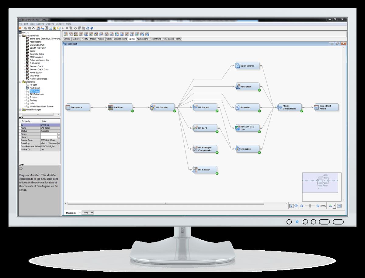 Captura de pantalla de SAS Enterprise Miner que muestra el flujo completo