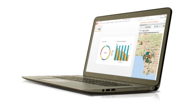 Se muestra SAS Office Analytics en una laptop